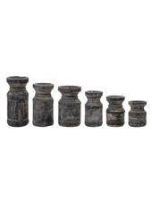 Bloomingville Set de 6 bougeoirs en bois recyclé - noir - Bloomingville