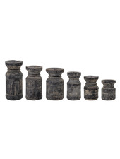 Bloomingville Set of 6 wooden candle holders - black - Bloomingville