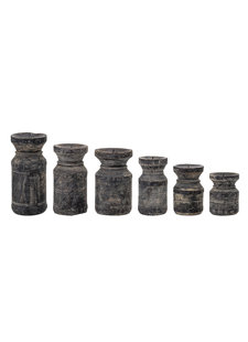Bloomingville Set of 6 wooden candle holders - black - Bloomingville