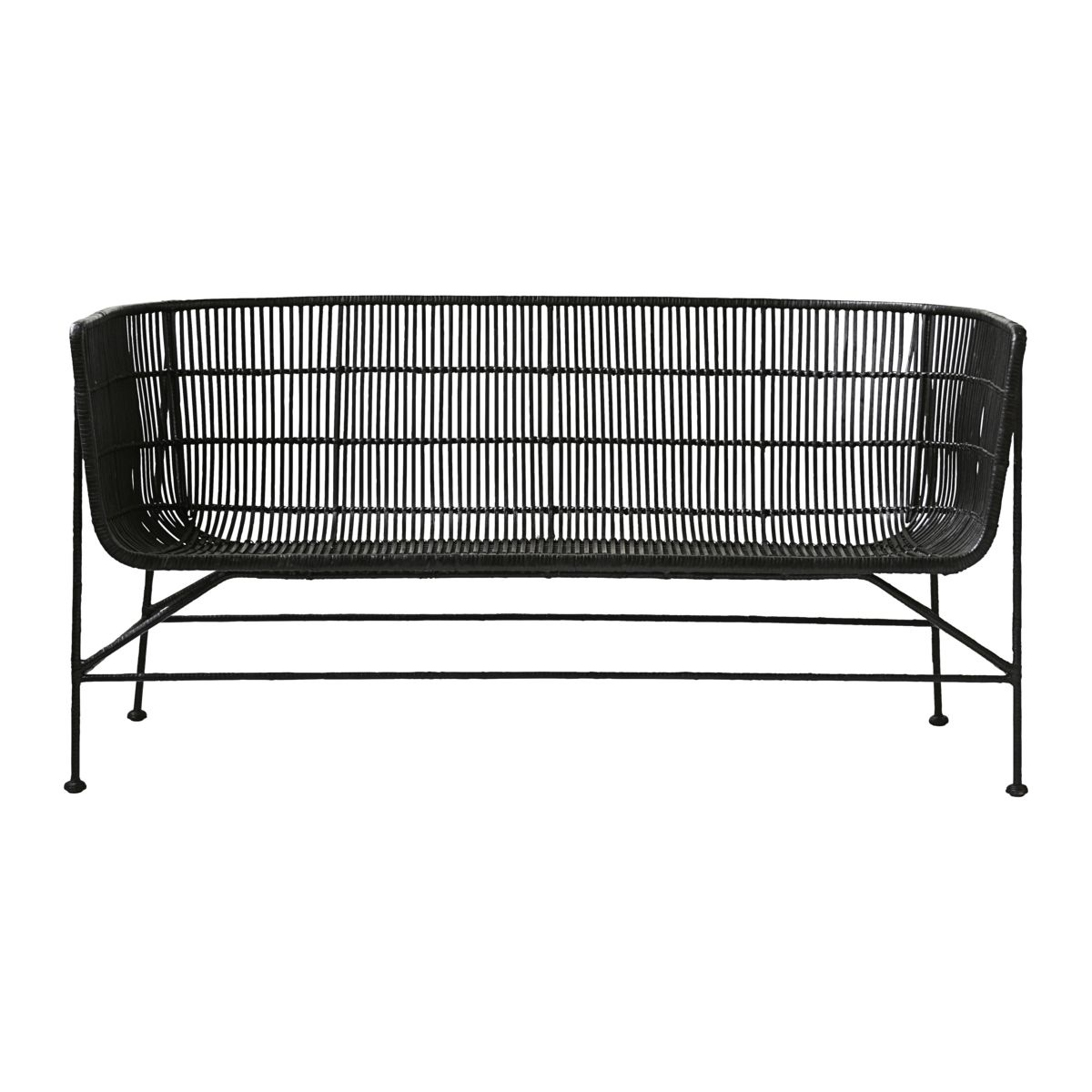 House Doctor Black Rattan bench / Sofa - natural - 140cm - House Doctor