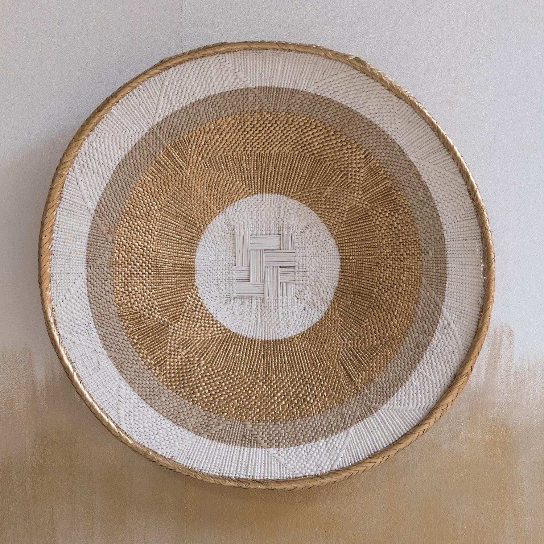 Petite Lily Interiors Tonga basket natural L - Gold Striped - Ø52-56cm
