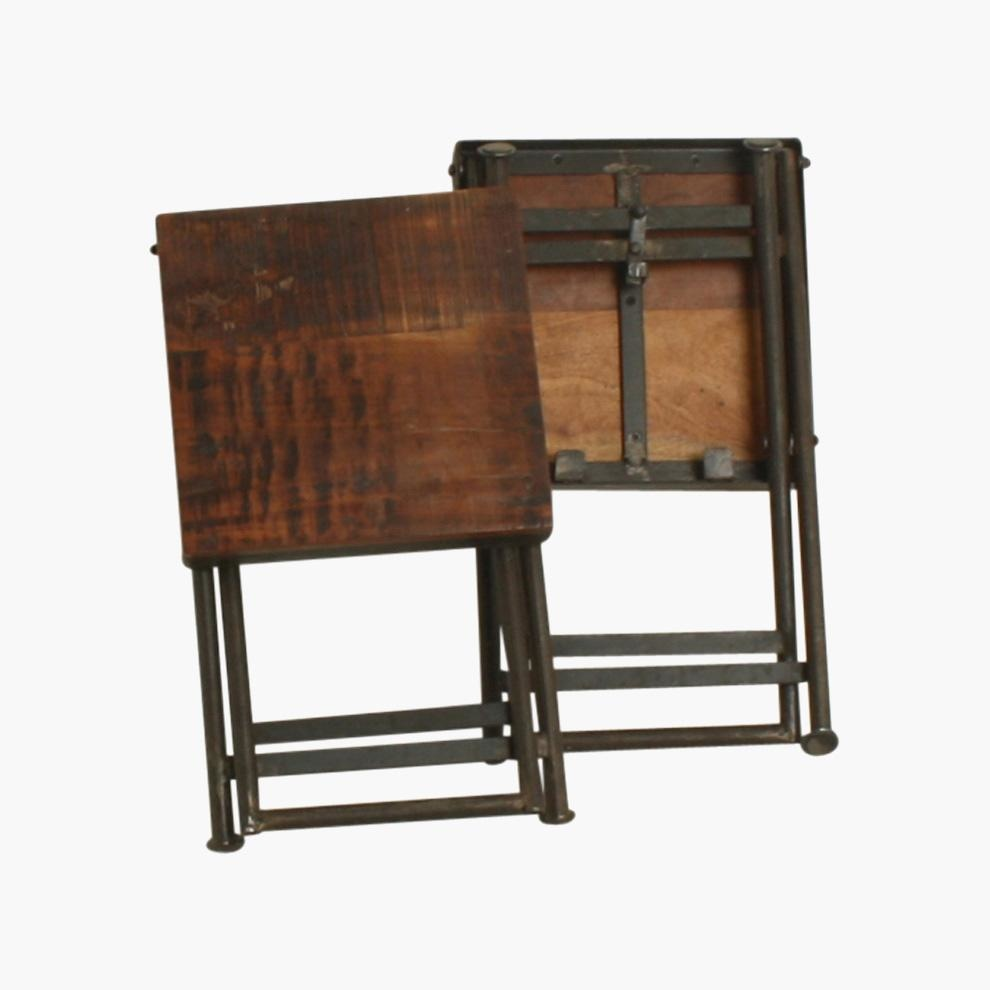 Taburet Plegable Bristo - madera y metal - L30xW30xH45cm