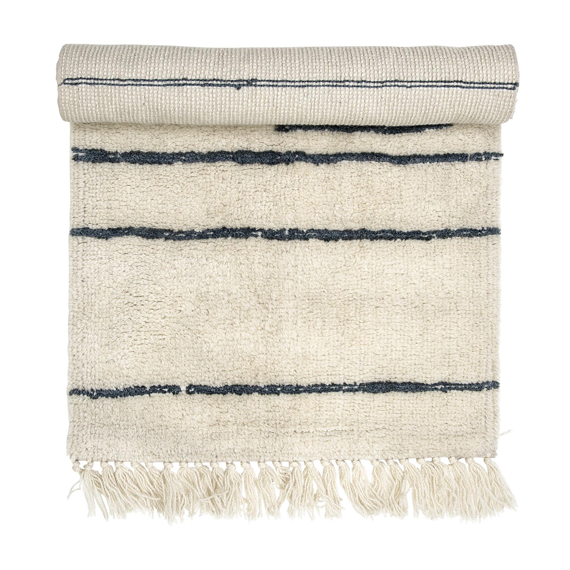 Bloomingville Scandinavian rug in wool - creme/grey - L120xW60 cm - Bloomingville