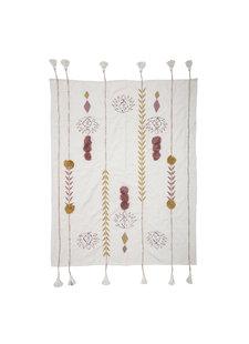 Bloomingville Manta / Plaid de algodón - multicolor / rosa - L150xW125cm - Bloomingville