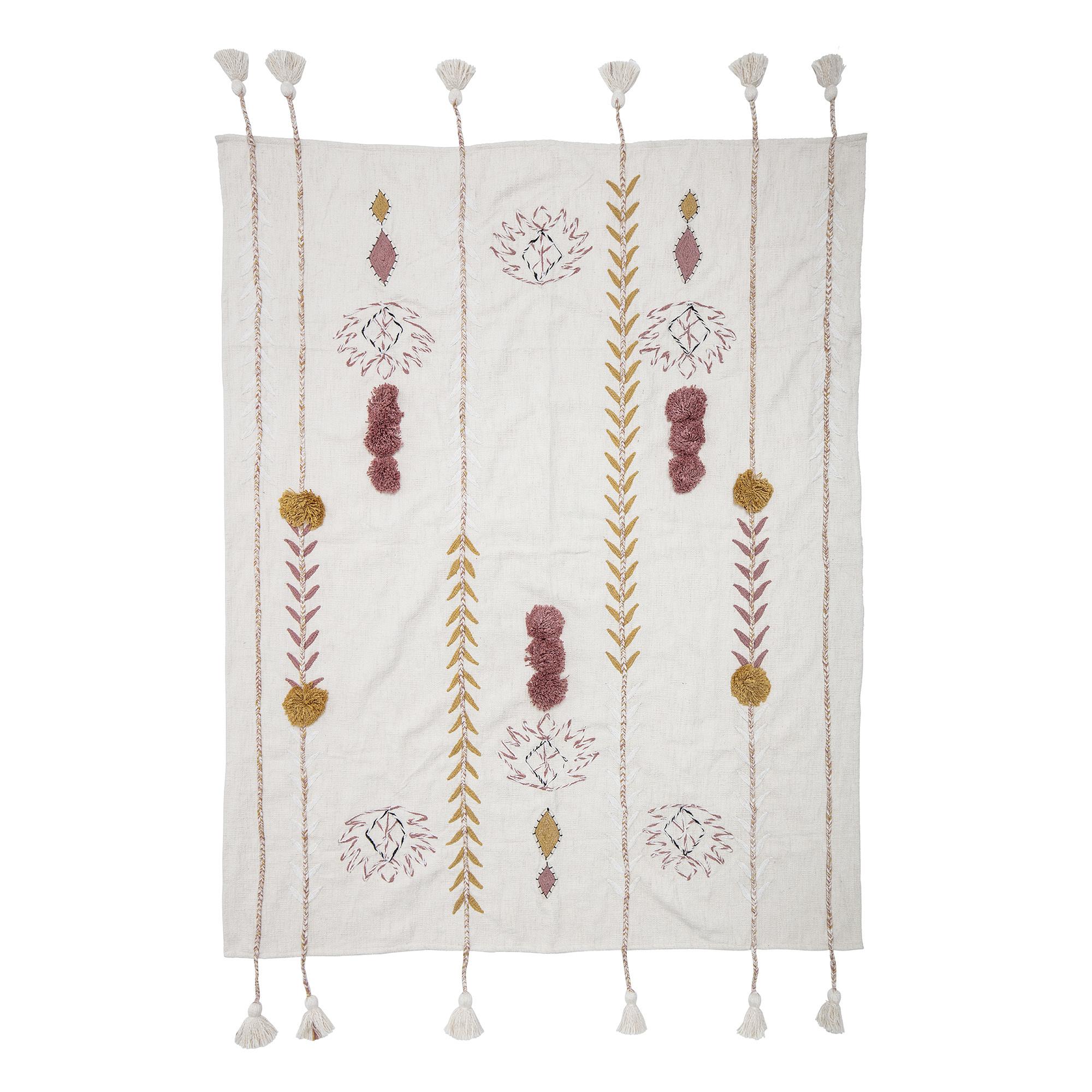 Bloomingville Couverture / Plaid 100% coton - multicolore / rose - 130x170cm - L150xW125cm - Bloomingville