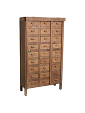 Petite Lily Interiors Factory cabinet 27-drawer - teak - 86x35xH153cm - Unique Piece
