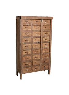 Petite Lily Interiors Factory cabinet 27-drawer - teak - 86x35xH153cm - Unique Piece