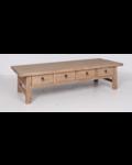 Table basse bois brut avec 4 tiroirs - 166x65xh44cm - bois d'orme
