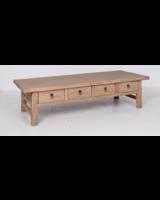 Raw wood coffee table w/ 4 drawers -166x65xh44cm - Elm wood