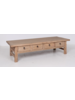 Petite Lily Interiors Table basse bois brut avec 4 tiroirs - 166x65xh44cm - bois d'orme