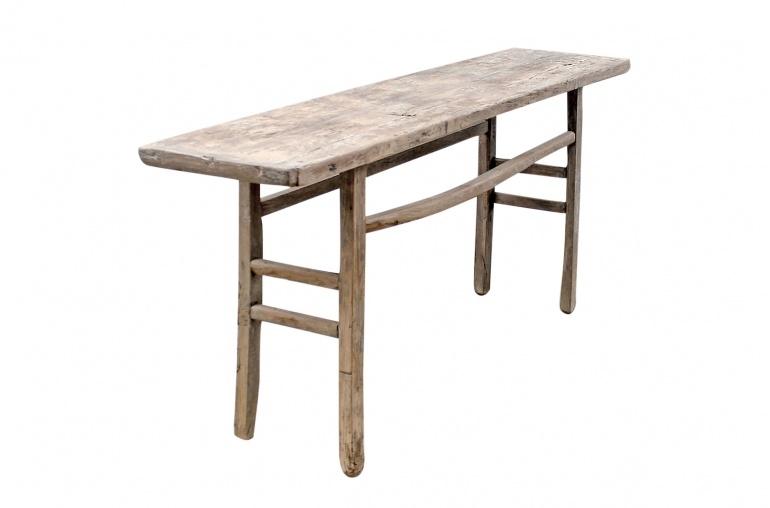 Petite Lily Interiors Table console vintage en Bois d'orme - Piece Unique - 191x45xh84cm