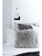 Bloomingville Cushion Tibetanian Lambskin - grey - Bloomingville