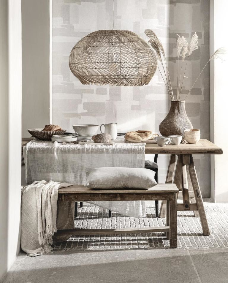 Raw wood furniture, combined with beautiful textiles in  soothing color tones - spotten on Pinterest