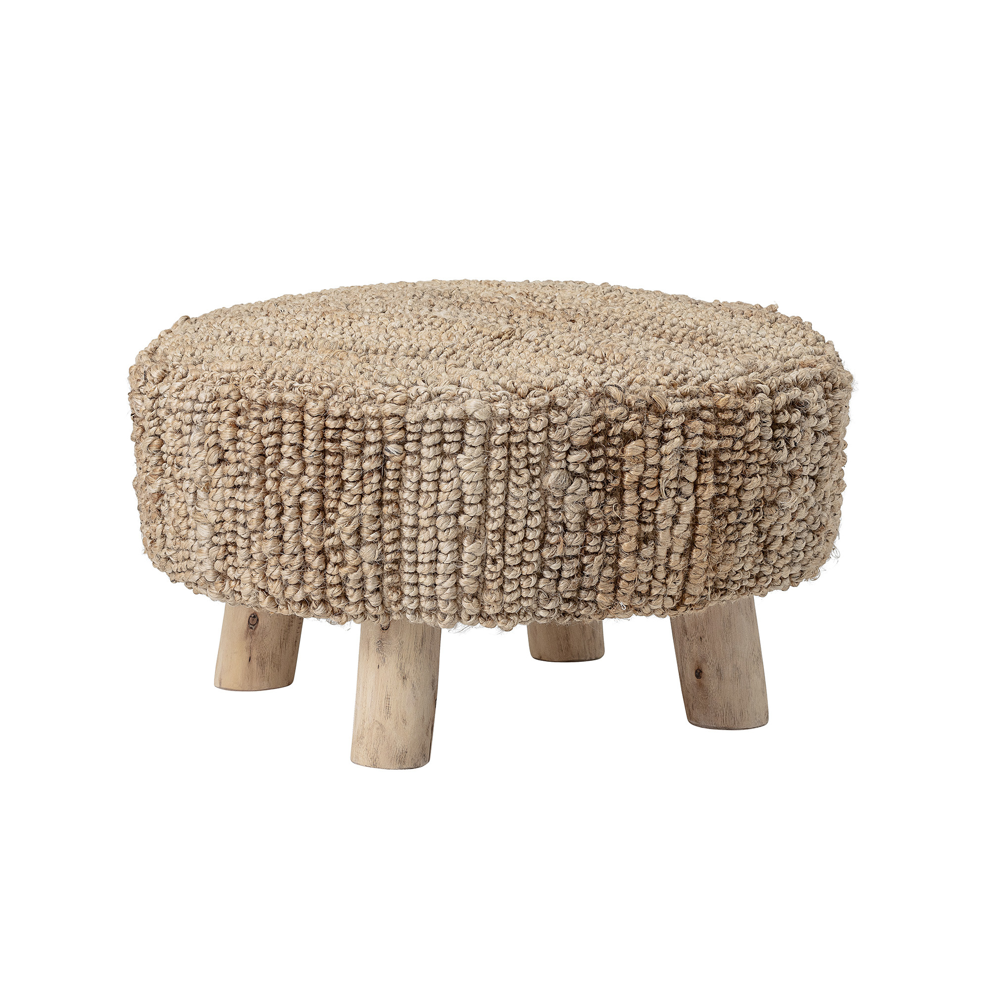Bloomingville Wooden stool round in wood with weaved seating - natural and grey - Copy