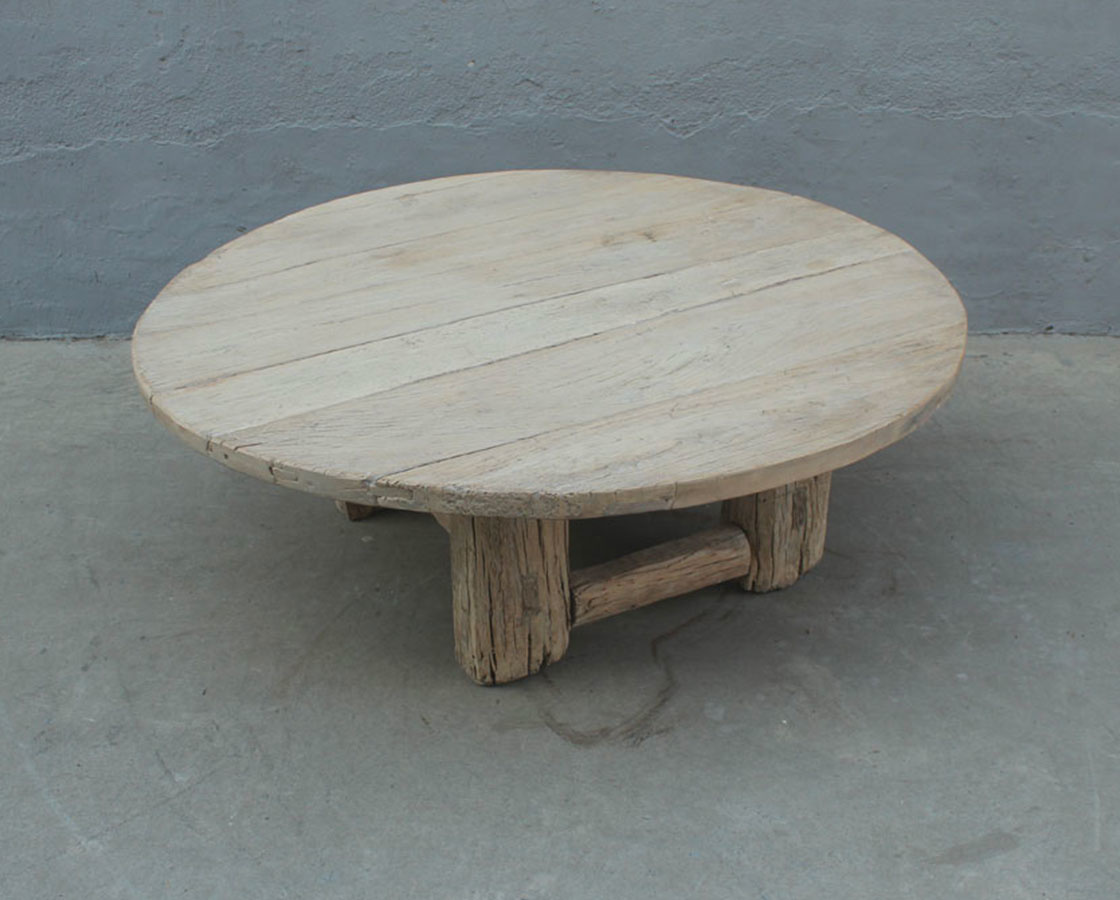 Natural coffee table rond - 130xh46cm - Elm Wood