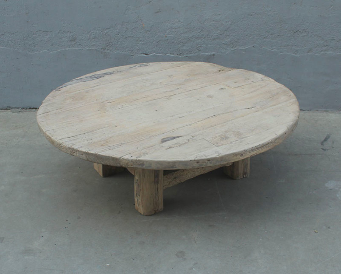 Petite Lily Interiors Natural coffee table rond - 140xh45cm - Elm Wood
