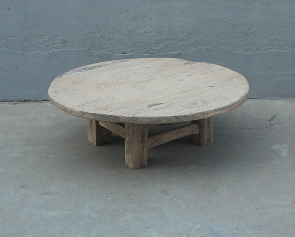 Mesa de centro rondonda en Madera de Olmo - 140xh45cm