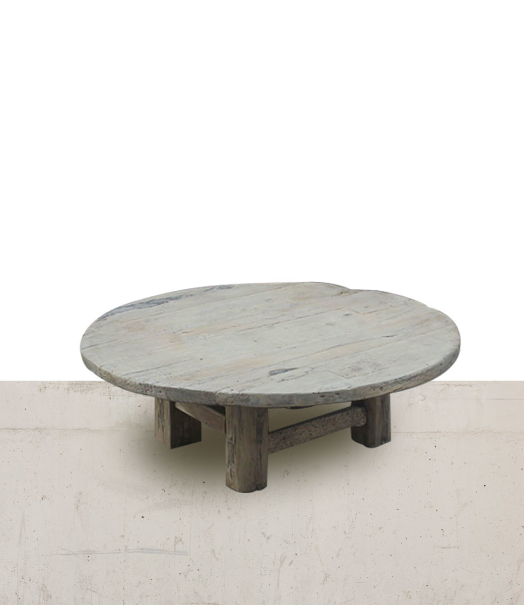 Natural coffee table rond - 140xh45cm - Elm Wood