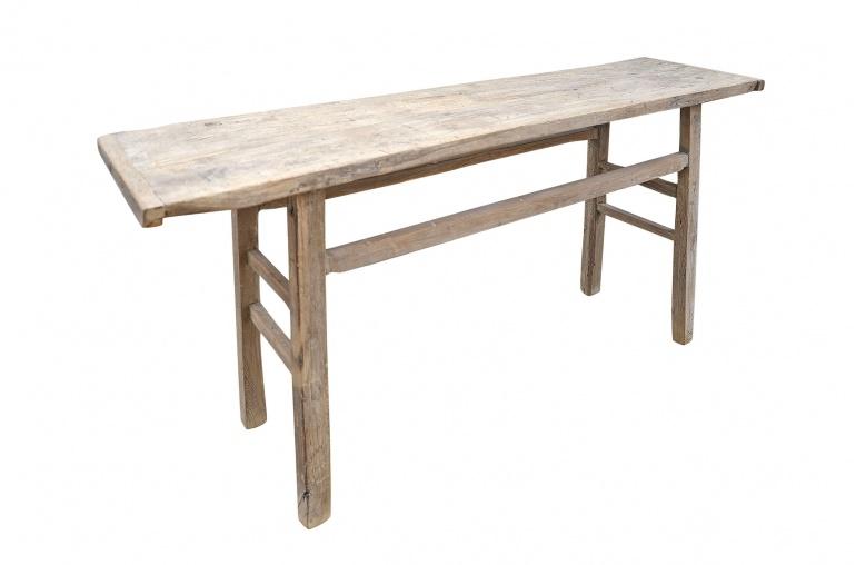 Table console vintage en Bois d'orme - Piece Unique - 192x48xh86cm