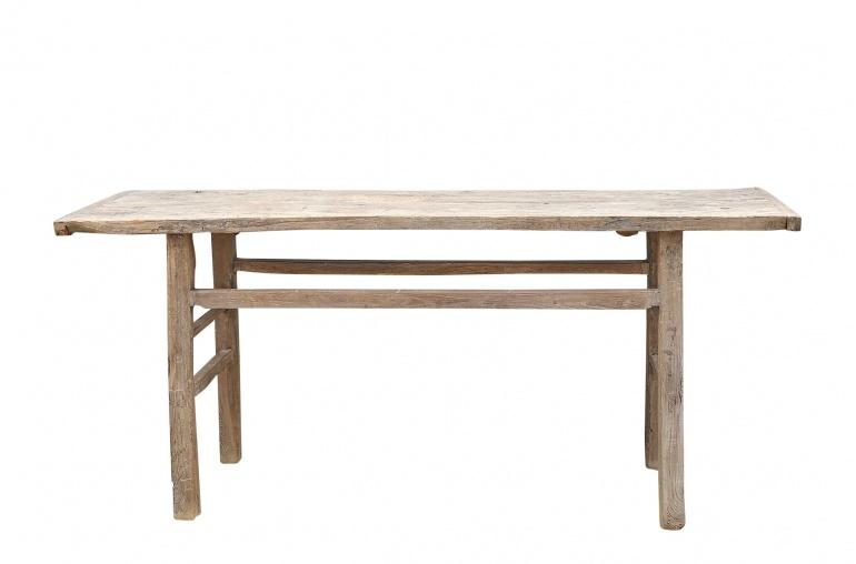 Petite Lily Interiors Table console vintage en Bois d'orme - Piece Unique - 192x48xh86cm