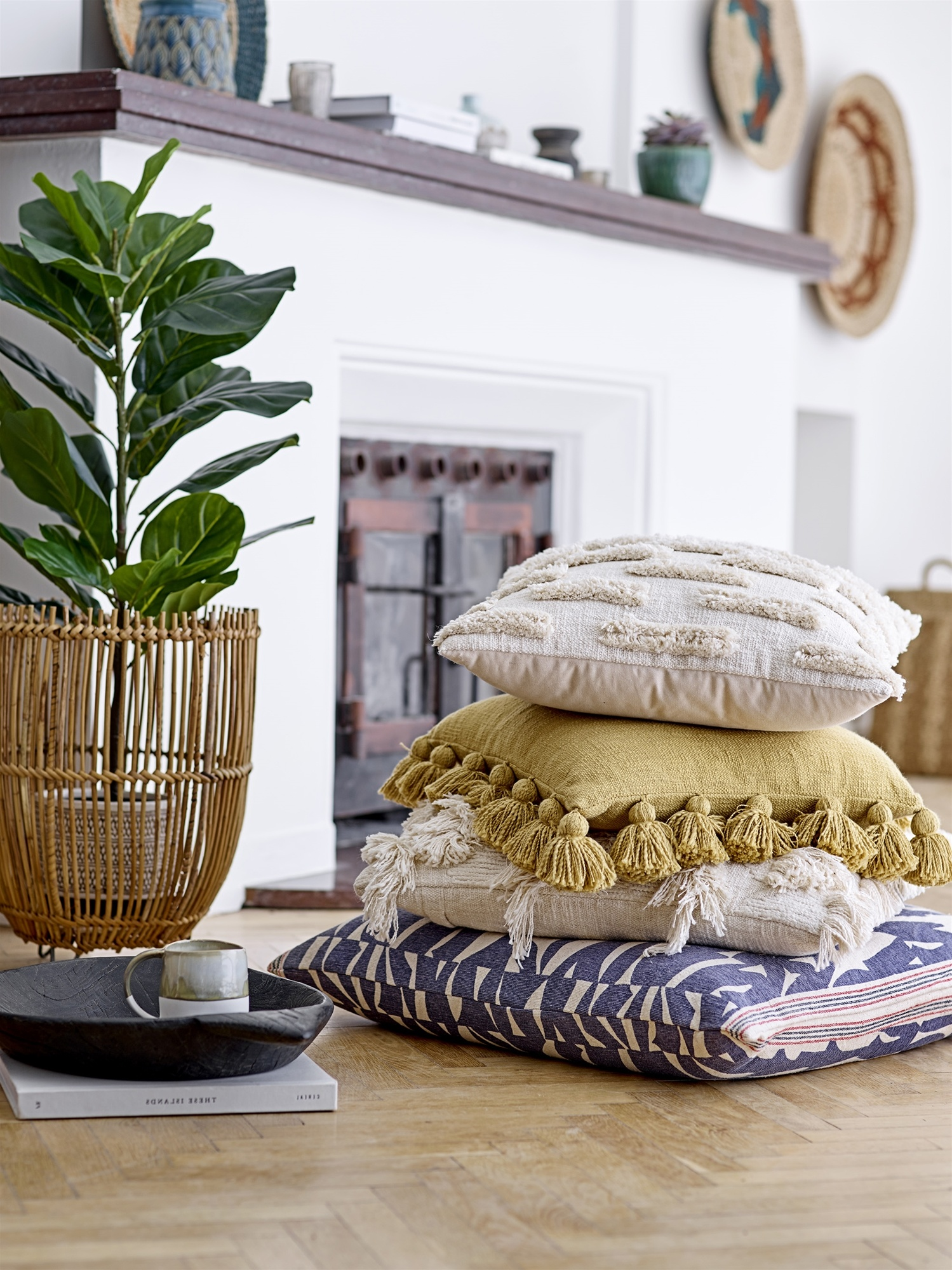 Bloomingville Coussin en coton - blanc - 50x50cm - Bloomingville