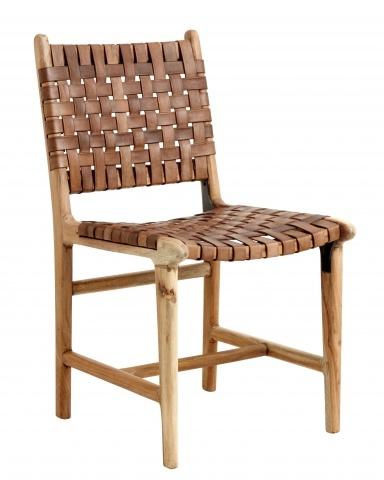 Nordal Silla de madera y cuero - natural - Nordal