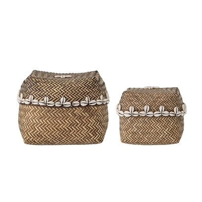 Bloomingville Set of 2 bamboo baskets - 13,5Xh10cm et 9Xh10cm - Bloomingville