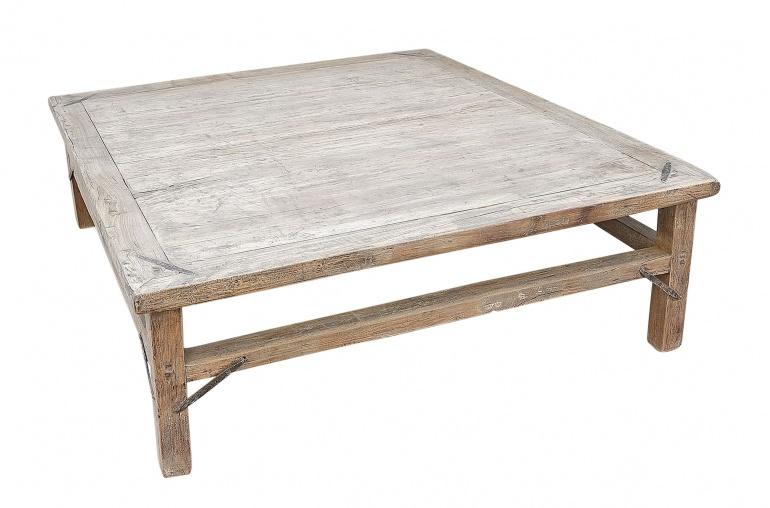 Mesa de salon de madera cruda -154x136xh46cm - nuez