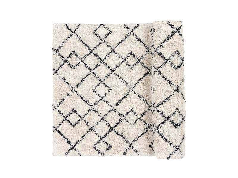 Broste Copenhagen Scandinavian-Ethnic rug 'Janson' - Ivory & black - 70x140cm - Broste Copenhagen