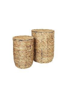 Broste Copenhagen Set of 2 laundry baskets seagrass - Ø45Xh62cm - Broste Copenhagen