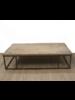 Petite Lily Interiors Mesa de Centro Industrial  - Metal y Madera cruda - 150xW90xH40cm - pieza única