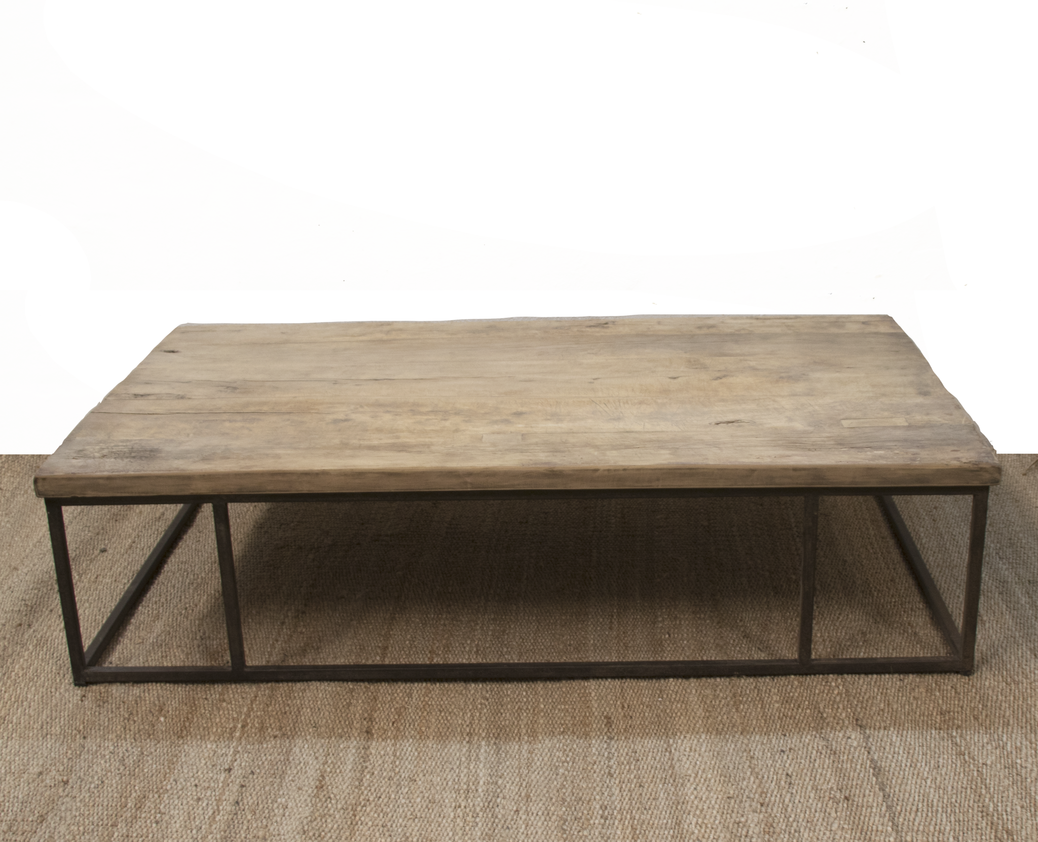 Industrial Raw Wood Coffee Table Metal Wood 150xw90xh40cm Unique Item Petite Lily Interiors