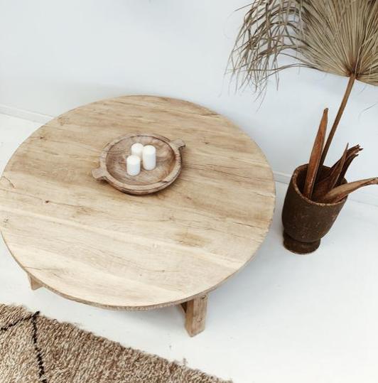 Petite Lily Interiors Natural coffee table rond - 80xh30cm - Unique Item