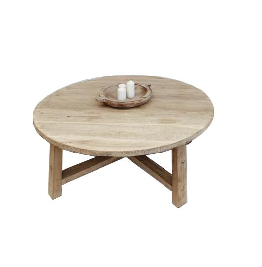 Petite Lily Interiors Table basse bois brut - rond - 80xh30cm - Unique Piece