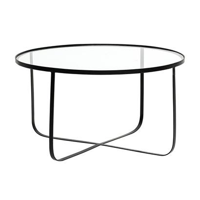 Bloomingville Harper Coffee Table, Black, Glass - metal - Ø80xH43cm - Bloomingville