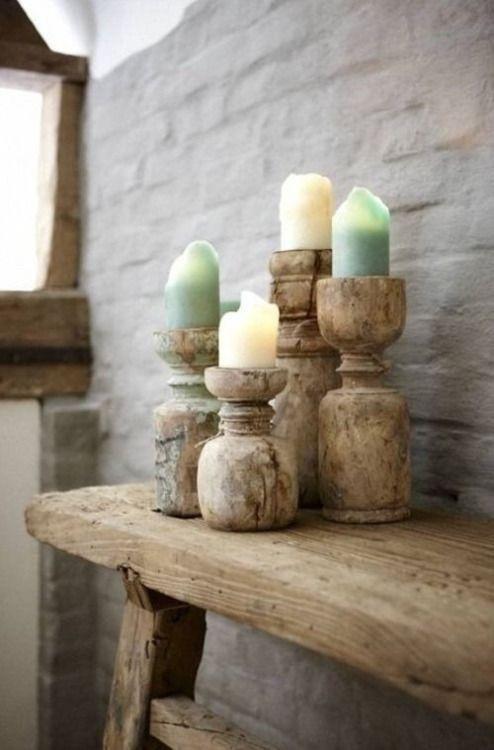 Petite Lily Interiors Portavela de madera India - Pieza Unica