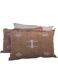 Petite Lily Interiors Moroccan Silk Cushion  - Coffee Oblong - 80x50cm
