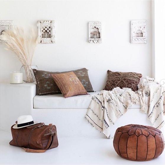 Petite Lily Interiors Housse de coussin Marocain soie - Blanc Cassé Oblong