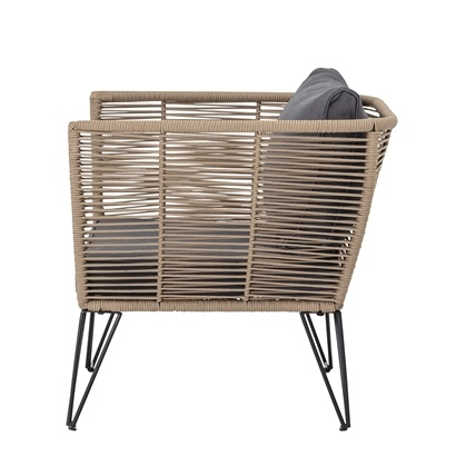 Bloomingville Outdoor lounge chair - dark grey / natural - L87xH72xW74 - Bloomingville