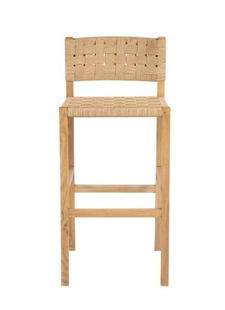 Dareels Bar stool CORA in teak et robe - 48x55xh110cm - Natural  - Dareels