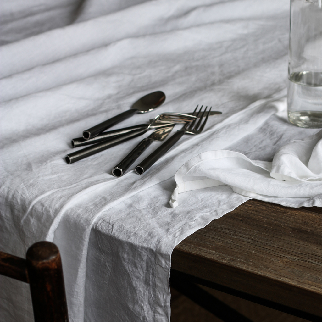 Tell me more Table cloth 100% stonewashed linen - 160x330cm - light grey - Tell Me More