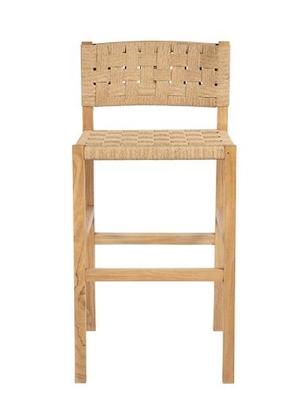 Dareels Bar stool CORA in teak et robe - 48x55xh90cm - Natural  - Dareels