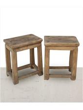 Petite Lily Interiors Lot de 2 tables chevet vintage - bois brut - 40x26xh50cm - piece unique