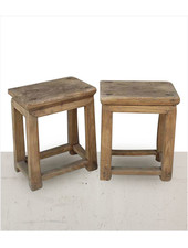 Petite Lily Interiors Set of 2 raw wood side table - elm wood - 40x26xh50cm - unique item
