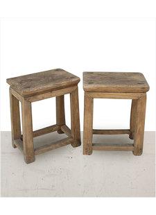 Petite Lily Interiors Set of 2 raw wood side table - elm wood - 40x26xh50cm - unique item