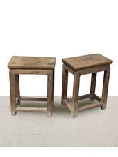 Petite Lily Interiors Lot de 2 tables chevet vintage - bois brut - 41x24xh50cm - piece unique