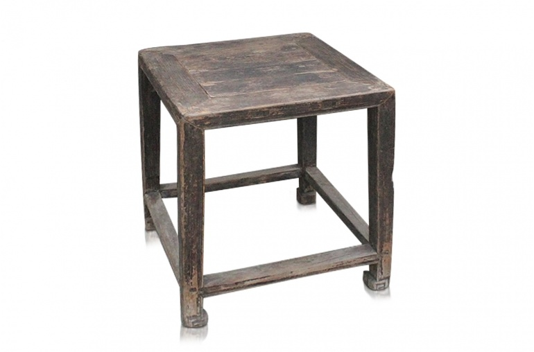 Petite Lily Interiors Vintage side table - raw elm wood - 48x48xh52cm - unique item