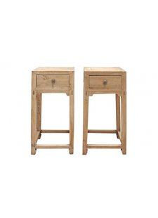 Petite Lily Interiors Lot de 2 tables chevet - bois brut - 40x40xh88cm - piece unique