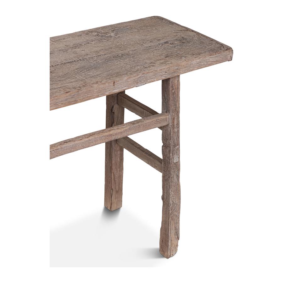 Petite Lily Interiors Table console vintage - Bois brut - 169x42x81cm - Piece Unique