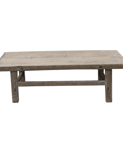 Raw Wood Coffee Table 126x48xh40cm Elm Wood Petite Lily Interiors
